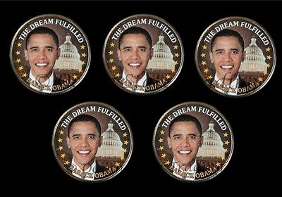 Five - Colorized President Obama Half Dollars (5 Coins)