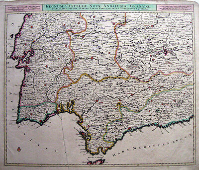c1680 SPAIN & PORTUGAL south * DANCKERTS LISBON GRANADA 48x57cm SCARCE ORIGINAL