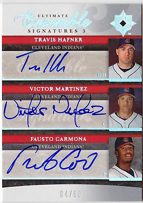 2006 Ultimate VICTOR MARTINEZ TRAVIS HAFNER CARMONA Triple Auto #d 50