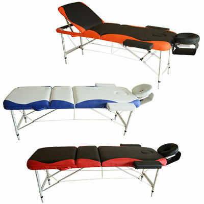 LIGHT WEIGHT PORTABLE MASSAGE TABLE BEAUTY THERAPY COUCH BED 3 SECTION Aluminum