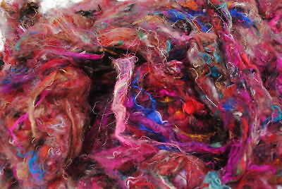 Heidifeathers® Carded Sari Silk 100g  for Felting, Dyeing, Paper and Spinning