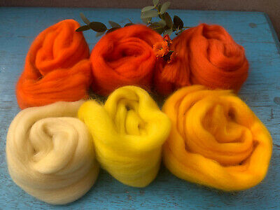 Heidifeathers® Merino Wool Tops'Outstanding Oranges and Yellows' - Felting Wool