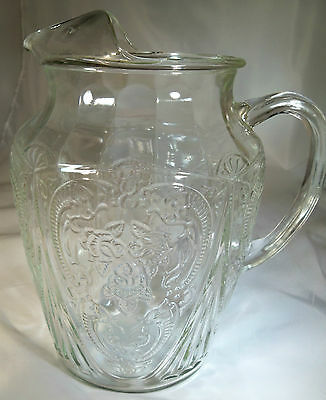 "Hazel Atlas Glass Co. Royal Lace Crystal 8-1/2"" Tall 96-Ounce Ice-Lip Pitcher!"