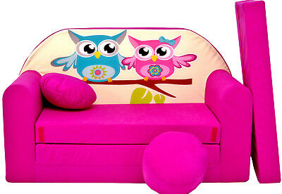 Kids Sofa Bed 168Cm Futon Childs Furniture + Free Pouffe / Footstool & Pillow
