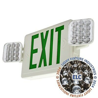 ALL LED Green Exit Sign and Emergency Light - Combo - Case of 6 COMBOG2