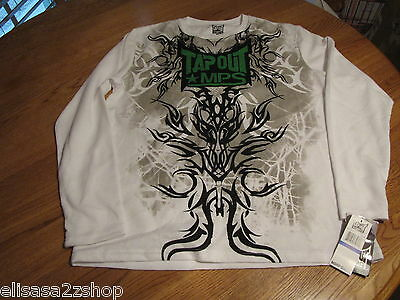 TAPOUT MPS UFC MMA mens long sleeve shirt White 3374125-10  XL NWT *^