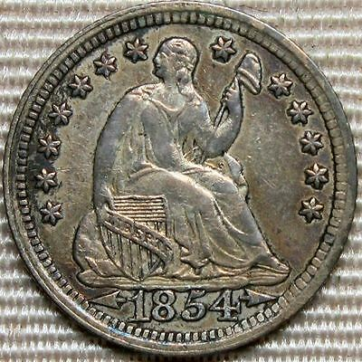 1854 Seated Liberty Half Dime * Nice Details