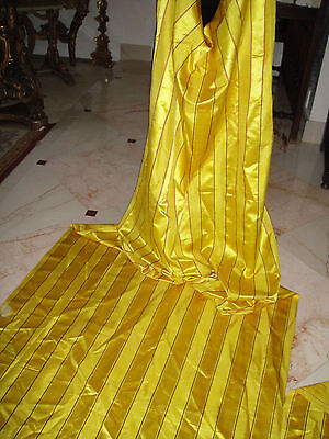 Exquisite Fine Silk Antique French Fabric Panels Drapes Stunning Yellow Gold