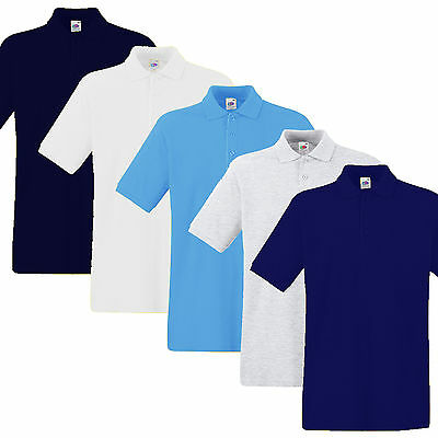 Mens Polo Shirt Fruit of The Loom Heavy + Premium Weight New Sizes SIZE SMALL