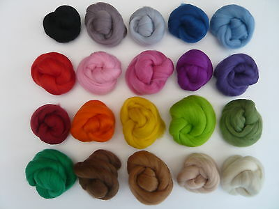 Heidifeathers Merino Wool Tops / Roving 20 Colours Mix 100g - Felting + Spinning