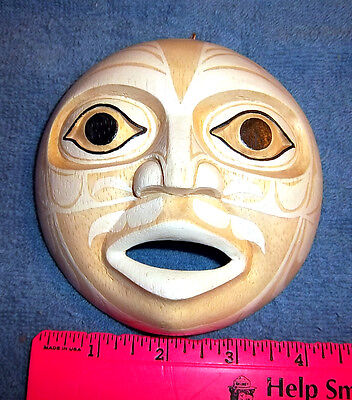Wood Tribal Style Moon Mask - hand carved and hand painted - beautiful!