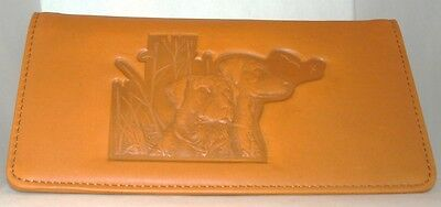 NEW Twin Labrador Dog Hunting Tan Genuine Leather CHECKBOOK Cover