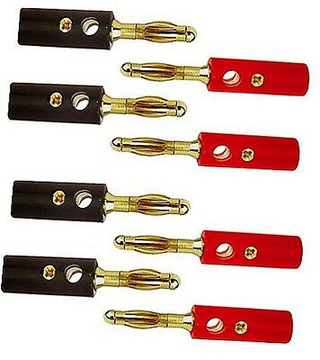 8 High Quality Gold Banana Plugs +FREE Heat Shrink Tubing & FREE P&P