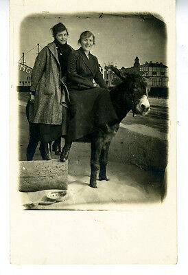 1915 RPPC Postcard of two Woman on a Donkey