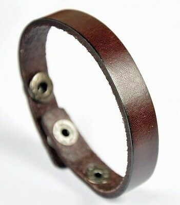Unisex Simply Cool Single Band Surfer Genuine Leather Bracelet Wristband Brown