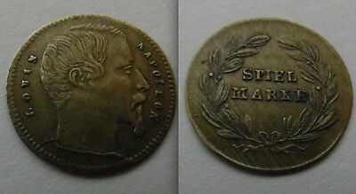 Small Collectable German ..  Spiel Marke Token / Louis Napoleon