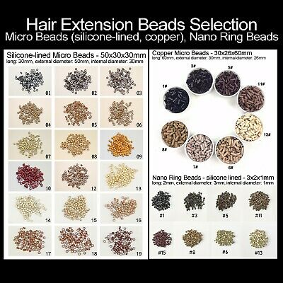 200pcs Hair Extensions Micro Beads Large  Copper  Silicon-Lined   Nano Ring