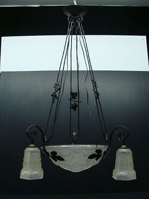 French Art Nouveau Ceiling Lamp Wrought Iron & 4 Lights Satin Glass Shades