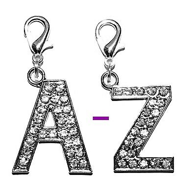 *LARGE* Diamante Bling Crystal Alphabet Letter Dog Collar necklace Bag Charm