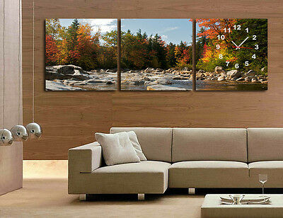Autumn Trees & Lake Wall Art W Clock On Quality Canvas Set Of 3 FRAMED