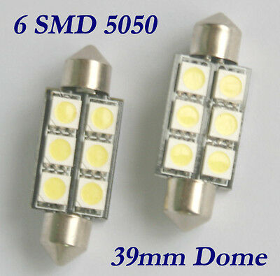 2 X 39mm 6 SMD 5050 LED Canbus Car Interior Light SV8,5 C5W Error free
