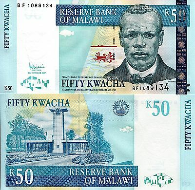 MALAWI 50 Kwacha Banknote World Paper Money UNC Currency Bill Africa Note p53c