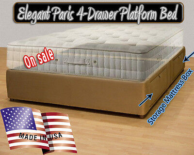 Paris Platform Bed with storage drawers  Upholstered Bed King Size