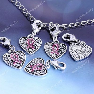 5x Tibetan Silver Plated Crystal Heart Lobster Clasp Bead Jewelry Findings DIY