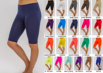 Seamless Workout Spandex Athletic Stretch Yoga Leggings Knee Biker Shorts Xs-2X