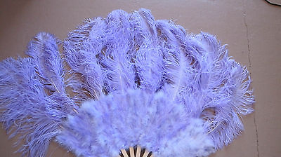 Hand Crafted Burlesque Giant Lavendar Ostrich Feather Body Fan Bamboo Staves