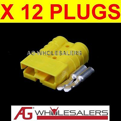 12 x YELLOW ANDERSON STYLE 50 AMP PLUG CONNECTORS JOINER 12V DUAL BATTERY 50a