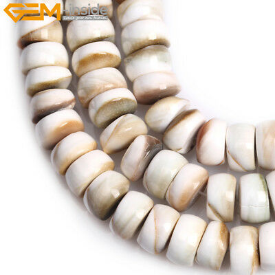 6x12mm Rondelle Natural Shell For Jewelry Making Spacer Beads Strand 15""