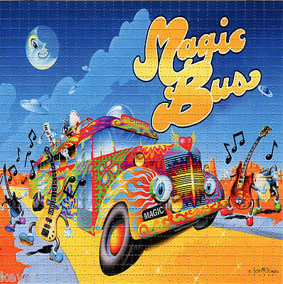 MAGIC DANCING BUS   perforated sheet LSD BLOTTER ART psychedelic acid free paper