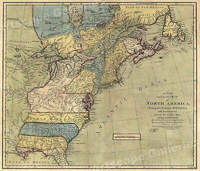 1771 Early American Colonies Historic Map - 24x26