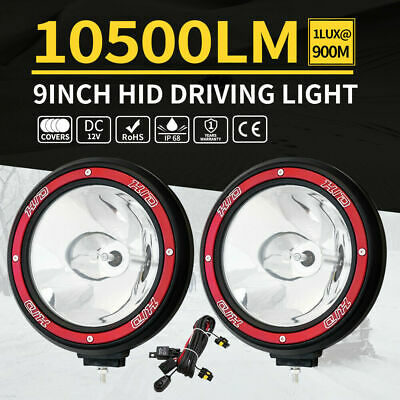 "2X 9"" inch 100W HID Driving Lights Xenon Spotlight Offroad 4WD Truck UTE 12V Red"