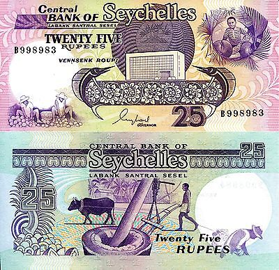 SEYCHELLES 25 Rupees Banknotes World Money Currency p33 Africa Note 1989 BILL