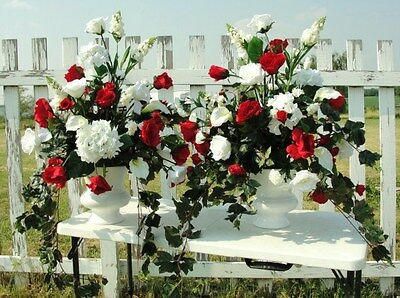 Silk Flower Arrangements Church Pew Wedding Altar Vases Red White Gala Two Sided 695 00 Picclick