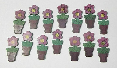 New Mini Painted Wood Flower In A Pot 30-Pack