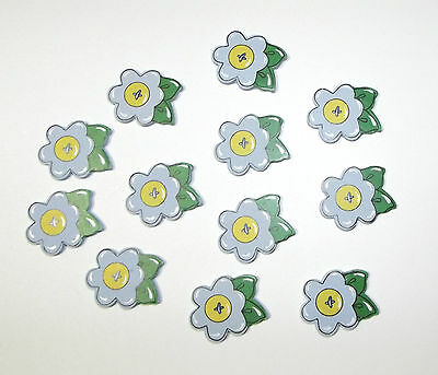 New Mini Painted Wood Blue Flower 35-Pack