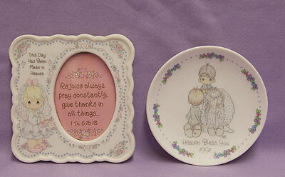 Precious Moments 1991  Decorative Plate 1994 Picture Frame Lot of 2 Heaven Bless
