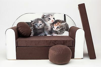 Kids Sofa Bed Flip Out Futon Childs Furniture + Free Pouffe / Footstool & Pillow
