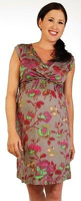 New Japanese Weekend Maternity and Nursing Modern Print Interlocking Shift Dress