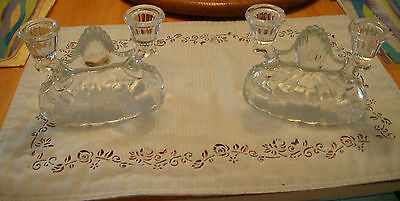 VINTAGE SET PAIR CLEAR PRESSED GLASS DOUBLE CANDLE STICK HOLDERS ~ BEAUTIFUL
