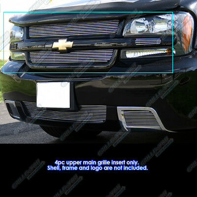 APS Compatible with 2006-2008 Chevy Trailblazer LT Black Billet Grille Grill Insert C66465H