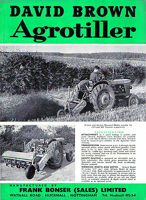 David Brown Agrotiller Standard & Heavy Duty manufactued by F Bonser Brochure