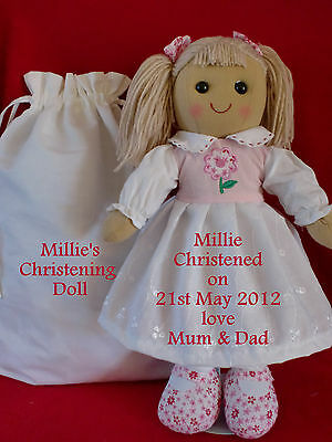 """xx PERSONALISED CHRISTENING 16"""" RAG DOLL & DRAW STRING GIFT BAG LOVE FROM BEAR"""
