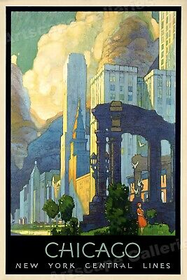 Art Deco Poster New York.1920s Chicago Ny Central Lines Art Deco Vintage Style Travel Poster 16x24