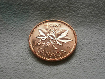 1959 Canada Canadian small cents one cent penny coin BU