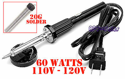 60W IRON SOLDERING GUN Electric Welding 110v-120v  + 20G Solder Tube Home Shop