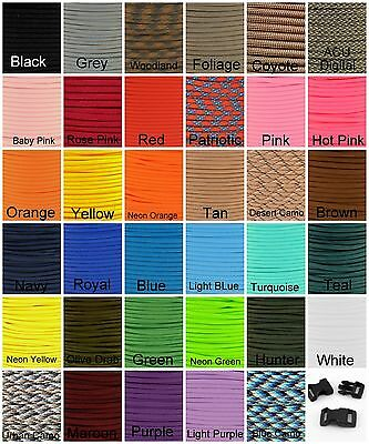 550 Paracord Mil Spec Type III 7 strand parachute cord 10 20 50 or 100 ft nylon